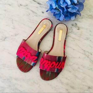 Mon Amour Pink French Spellout Slide Sandals
